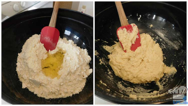 Mixing the almond flour and sugar together in a large mixing bowl with a spatula for the Glamburger macaron batter base.