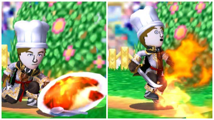 A screenshot from the Super Smash Bros game series of a Level 1 Chef Mii avatar breathing fire after eating a superspicy curry food item.