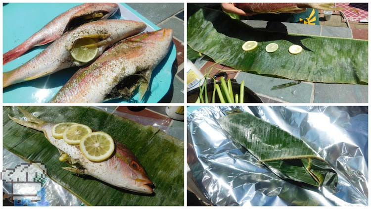 Sneaky fish stuffed with fresh herbs and lemon then wrapped in banana leaves to be steamed.