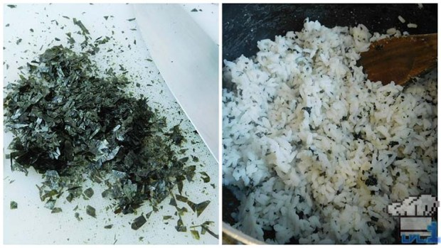 Side by side comparison of chopped dry nori, then the nori stirred into cooked rice.