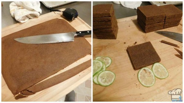 Slicing the gingerbread sheets into squares to create the base for the passenger cake car of our Legend of Zelda Spirit Tracks game series recipe.