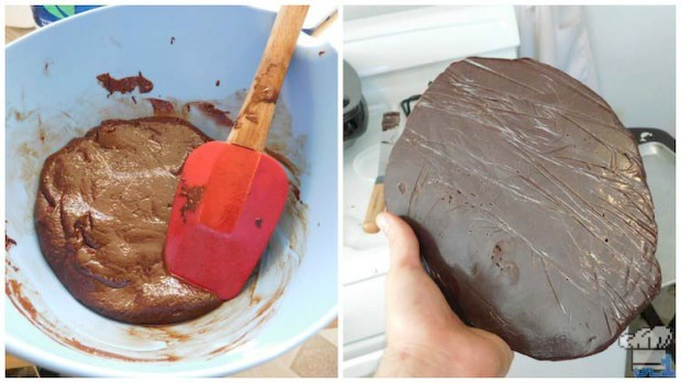 Finished recipe of the chocolate plastic, before molding it into the spiral garnish top.