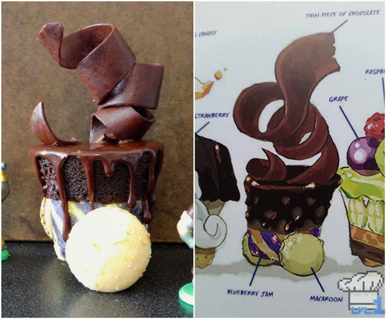 Comparison of the finished recipe of the chocolate cannon car from the Legend of Zelda Spirit Tracks game series, versus the concept art in the Hyrule Historia book.
