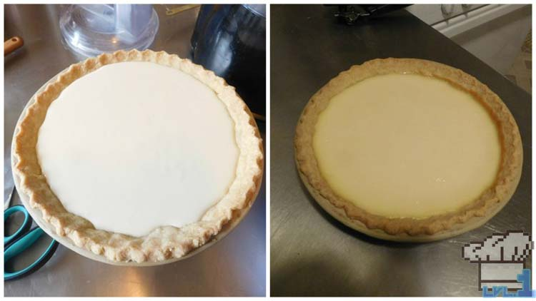 Finished cheesecake pulled from the oven and ready to cool before completing the recipe.