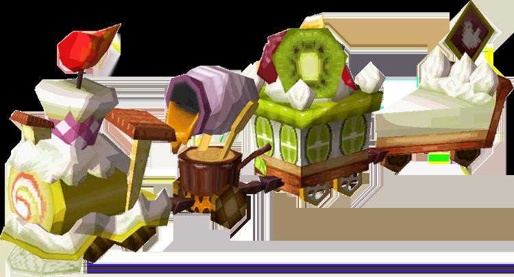 A pixel sprite of the dessert train from the Legend of Zelda Spirit Tracks game series.