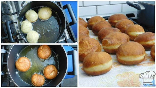 Frying the malasada doughnuts in hot oil before rolling them in sugar and filling them.