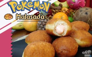 The finished recipe of big malasada doughnuts from the Pokemon game series.