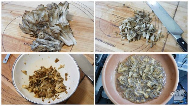 Maitake mushrooms sauteed in pan before adding to the maple buttercream for the Paper Mario mushroom Shroom Cake.
