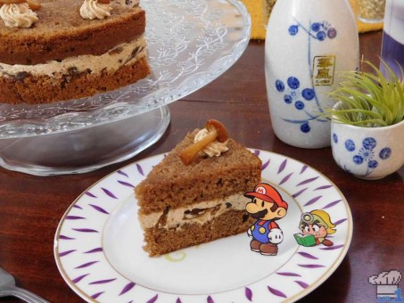 Slice of mushroom Shroom Cake from the Paper Mario Thousand Year Door game series.