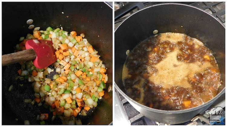 Sauteeing the vegetables and then cooking them down in broth for the meat stuffed pumpkin filling for the recipe from the Legend of Zelda Breath of the Wild game series.