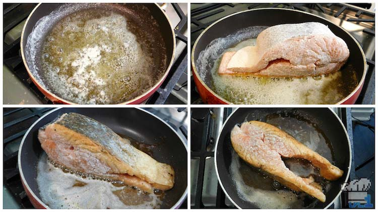 Pan searing the salmon filet on all sides in a hot pan to make the skin nice and crispy.