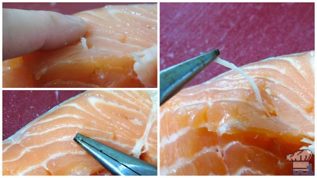 Removing the pin bones from the Salmon Meuniere filet before pan frying.