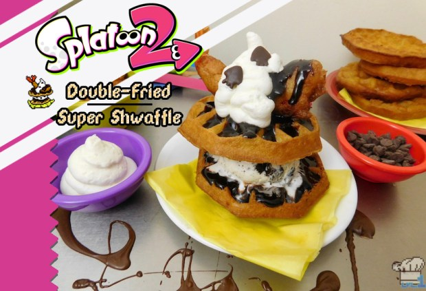 Finished recipe of the Double Fried Super Shwaffle from the Splatoon video game series.