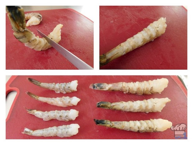 Slicing the belly of the shrimp so that they lay flat on the cutting board, before breading them and deep frying them for the Super Shwaffle food item from the Splatoon video game series.