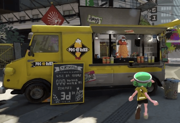 In-game screenshot of character walking up to the shwaffle food truck to order food from Splatoon 2 game.