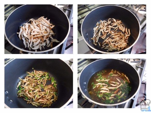 Sauteeing the veggies for the savory squab udon from the Hunt Cook: Catch and Serve mobile game