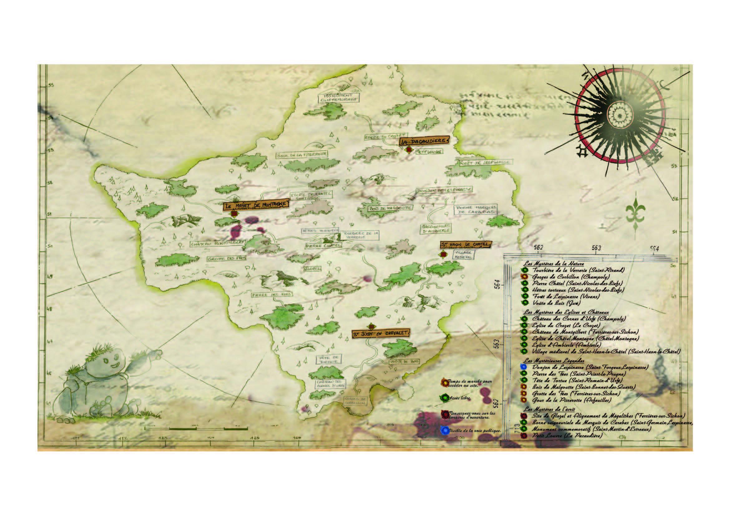 La carte des Mystères des Monts de la Madeleine