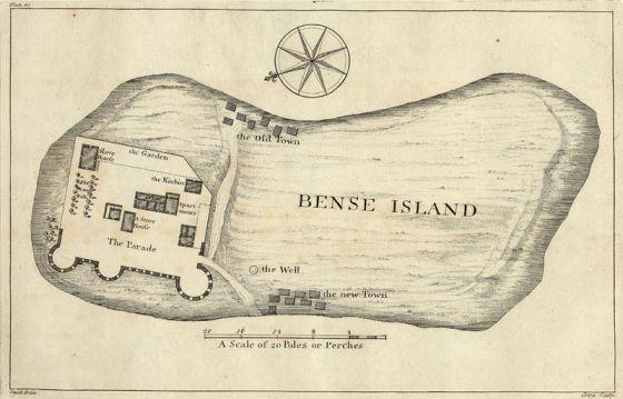 Carte de l'île de Bunce datant de 1726