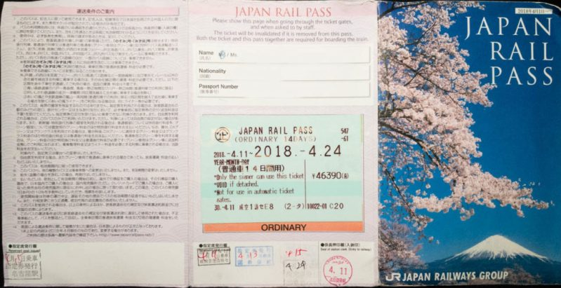 A JR Japan Rail Pass