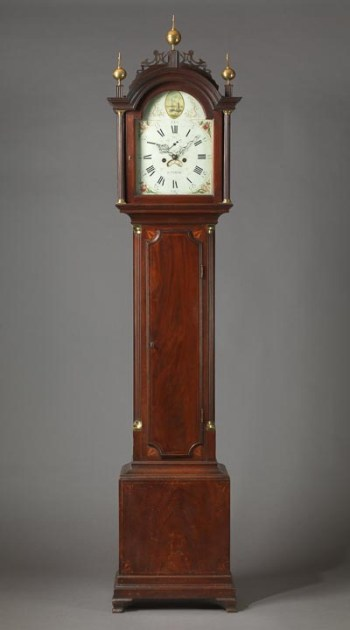 RARE FEDERAL INLAID TALL CASE CLOCK WITH WORKS BY ELNATHAN TABER