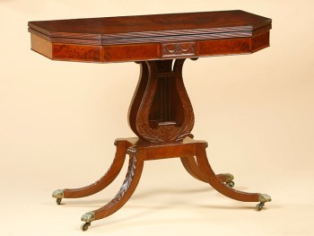 A RARE FEDERAL LYRE BASE CARD TABLE