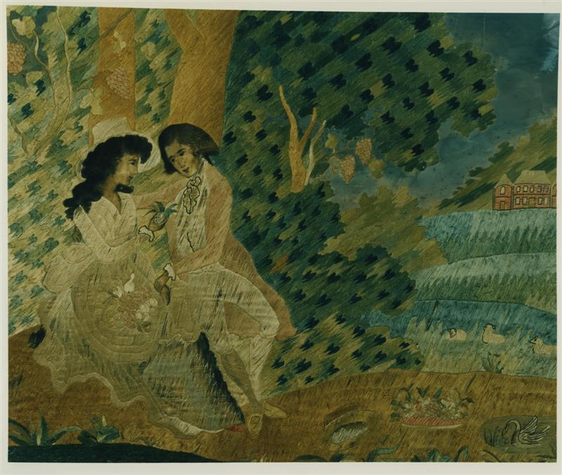 EARLY SILK ON SILK NEEDLEWORK PICTURE