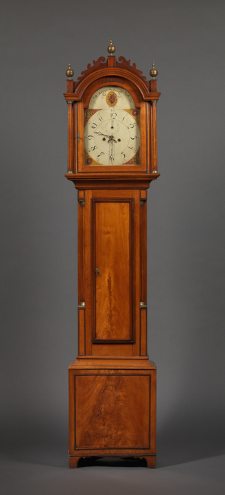 HEPPLEWHITE TALL CASE CLOCK MADE AND DIE-STAMPED ON THE SEAT BOARD