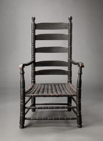 EARLY WILLIAM AND MARY PAINTED FIVE-SLAT BACK ARMCHAIR