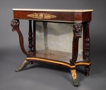 MARBLE TOP TABLE WITH CARVED LION HEAD SUPPORTS