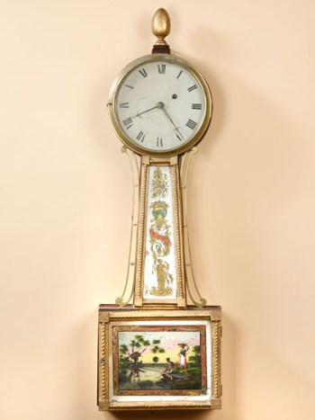 BANJO  CLOCK WITH WORKS BY AARON WILLARD, JR.