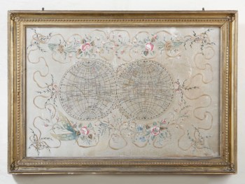 SILK NEEDLEWORK MAP OF THE EASTERN AND WESTERN HEMISPHERES