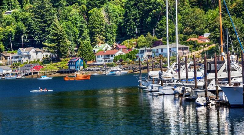 White Sailboats Marina Kayak Reflection, Gig Harbor, Pierce County, Washington State Pacific Northwest