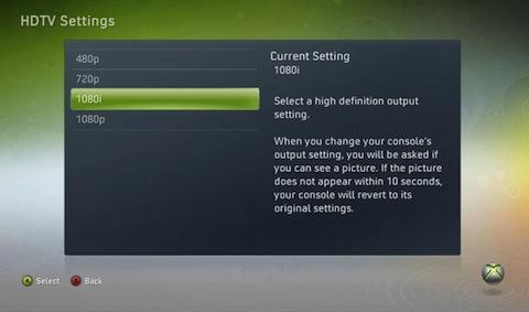 Xbox 360 - Formato video 1080i
