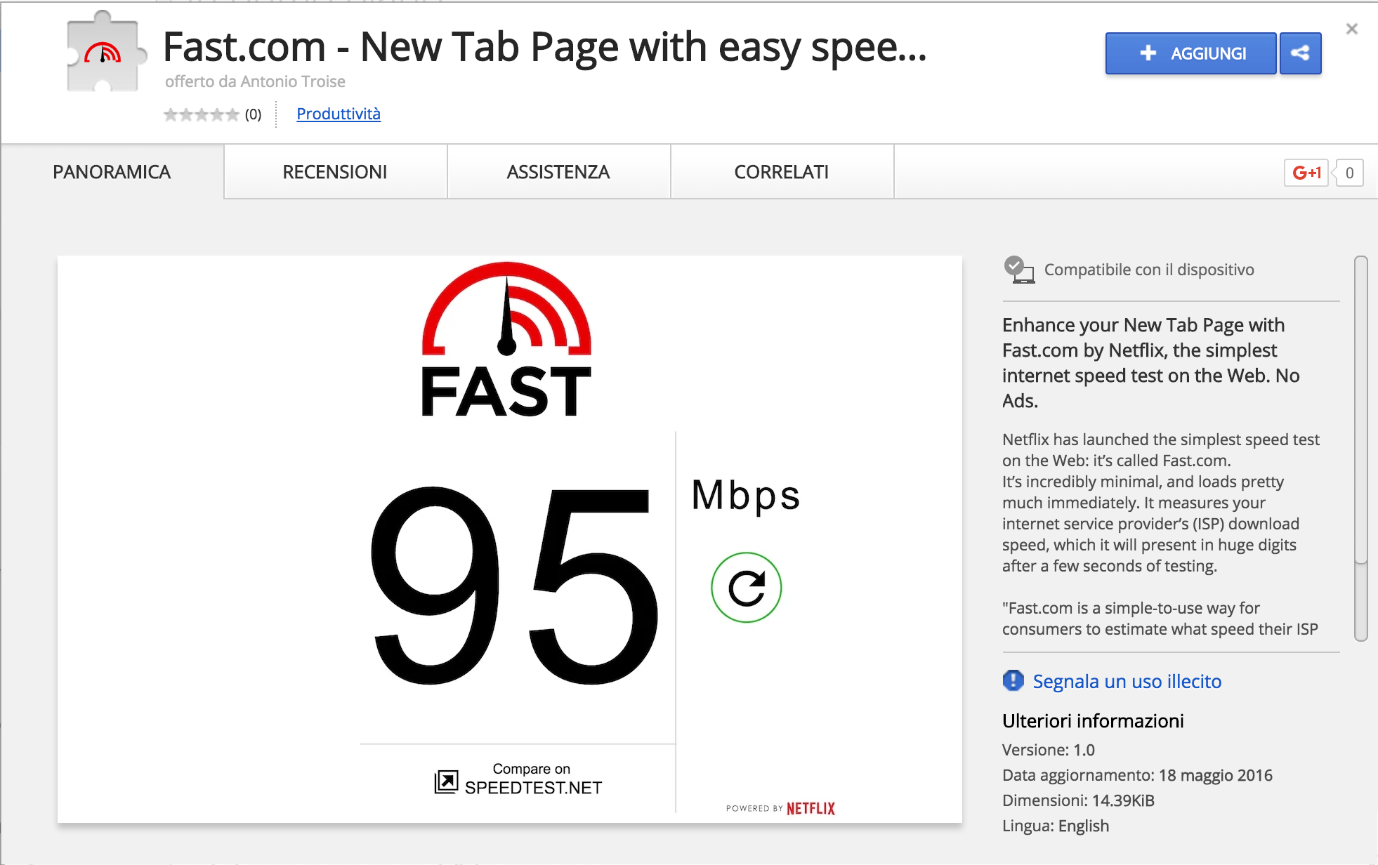 Fast.com - New Tab Page with easy speed test