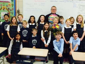 Mrs. Toni Justice, 2013-2014 Lewis Award Recipient, with her Third Grade Class and Fr. Tom Davis, Pastor of St. Egbert Catholic Church, Morehead City.