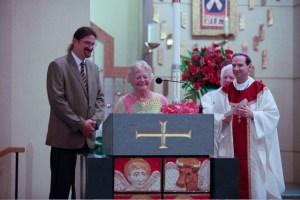 Mr. Joe Hughes, Anne Stahel, Msgr. Lewis, and Bishop Burbidge