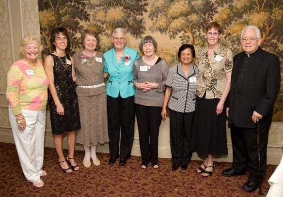 Anne Stahel, Laura Gallimore, Susan Goethals, Sarah Almon, Mary Jane Davis, Cora Bilano, Rose Anne Farrell, Monsignor Lewis