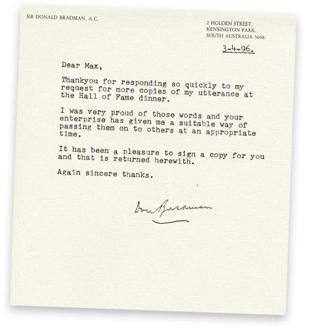 Letter from Don Bradman