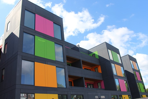 Picture of the colourfull PLACE Ladywell pop up flats in Lewisham