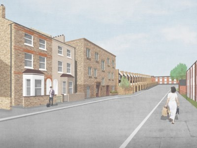 A 3D render of the new development as it will appear on the street