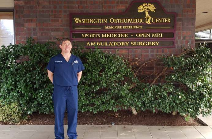 """""""I am happy to be with Washington Orthopaedic Center,"""" shares Dr. Bender. """"It is a good fit."""" Photo courtesy: Krysta Carper."""