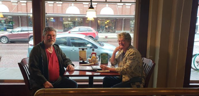 LaJuan and Jo-Ann Lingo enjoy a cozy lunch with a view in the window seats at O'Blarney's. Photo credit: Krysta Carper.