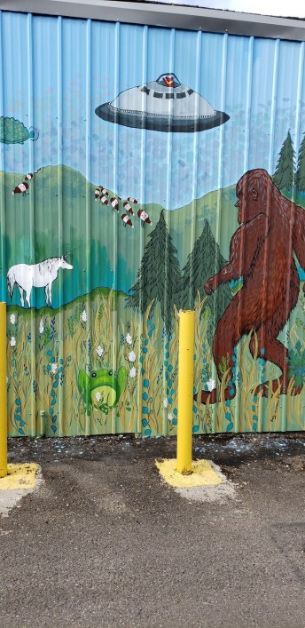 Flying Saucer Bigfoot Mural Chehalis