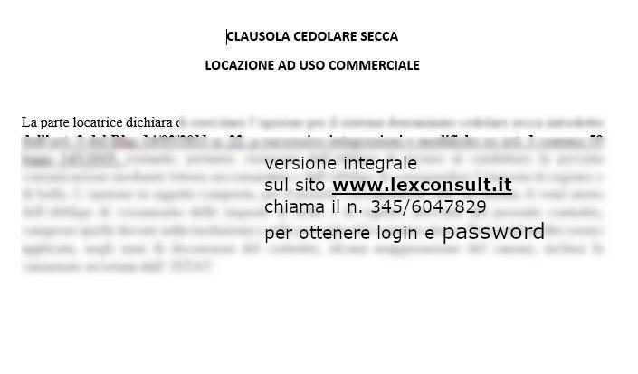Clausola Opzione Cedolare Secca Locazione Commerciale