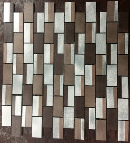 Silver and Chocolate Brick Mosaic