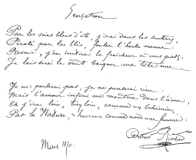 Arthur Rimbaud manuscrit