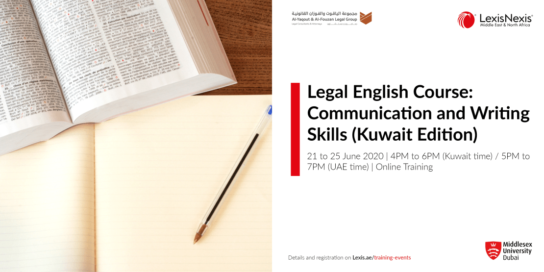 LEGAL ENGLISH COURSE: Communication and writing skills – KUWAIT Edition | 22-25 June 2020, Online Training