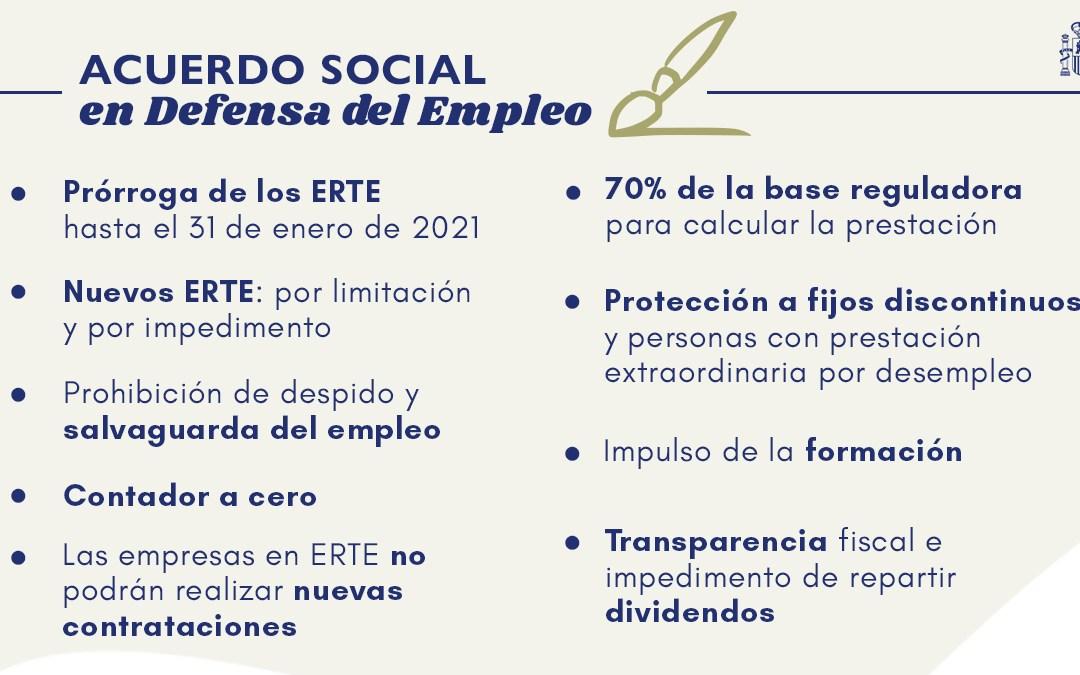 Acuerdo para prorrogar los ERTE por fuerza mayor hasta el 31 de enero de 2021.