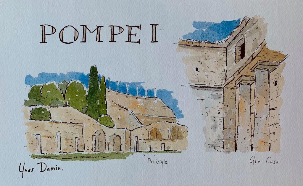 original watercolor of Pompei