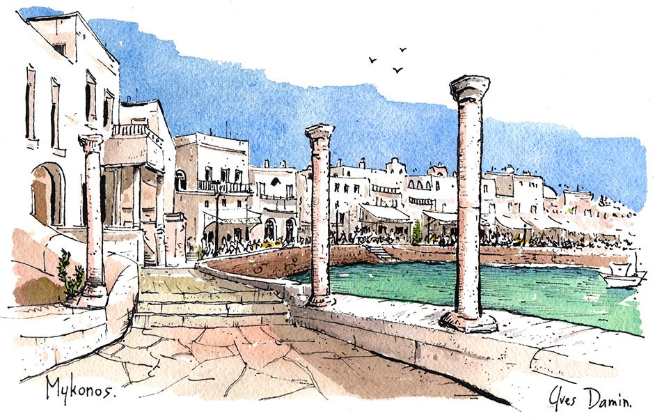 Mykonos aquarelle sur papier